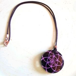 Flower of Life Dichroic Glass Pendant Necklace